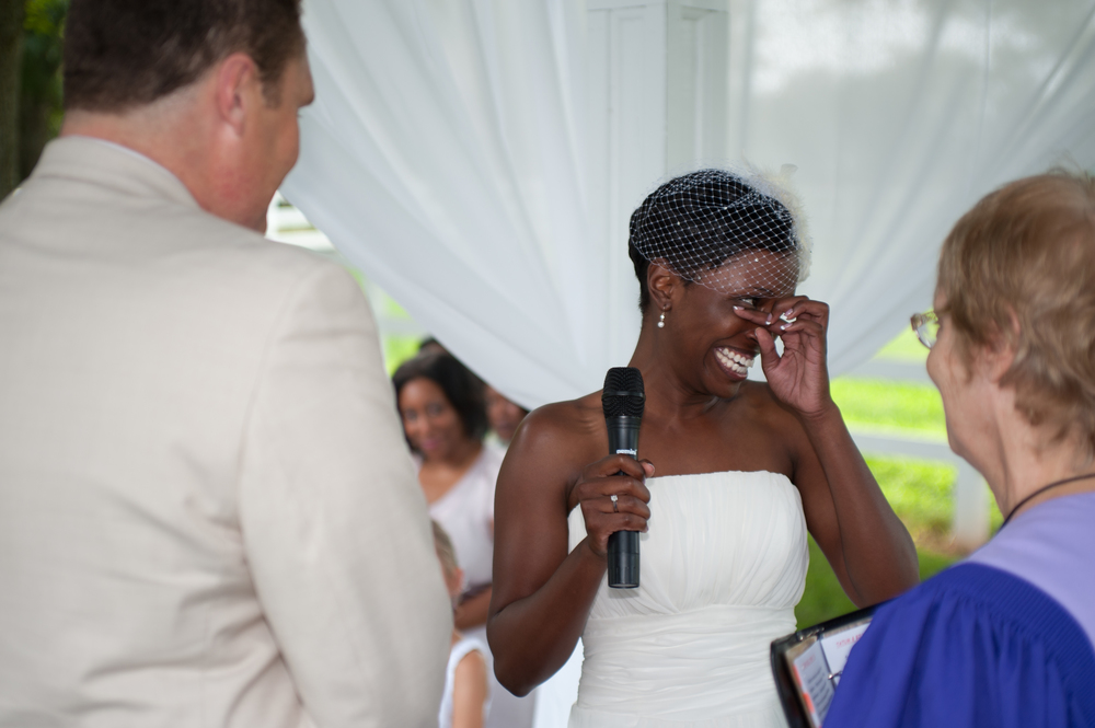 Bride overcome with tears