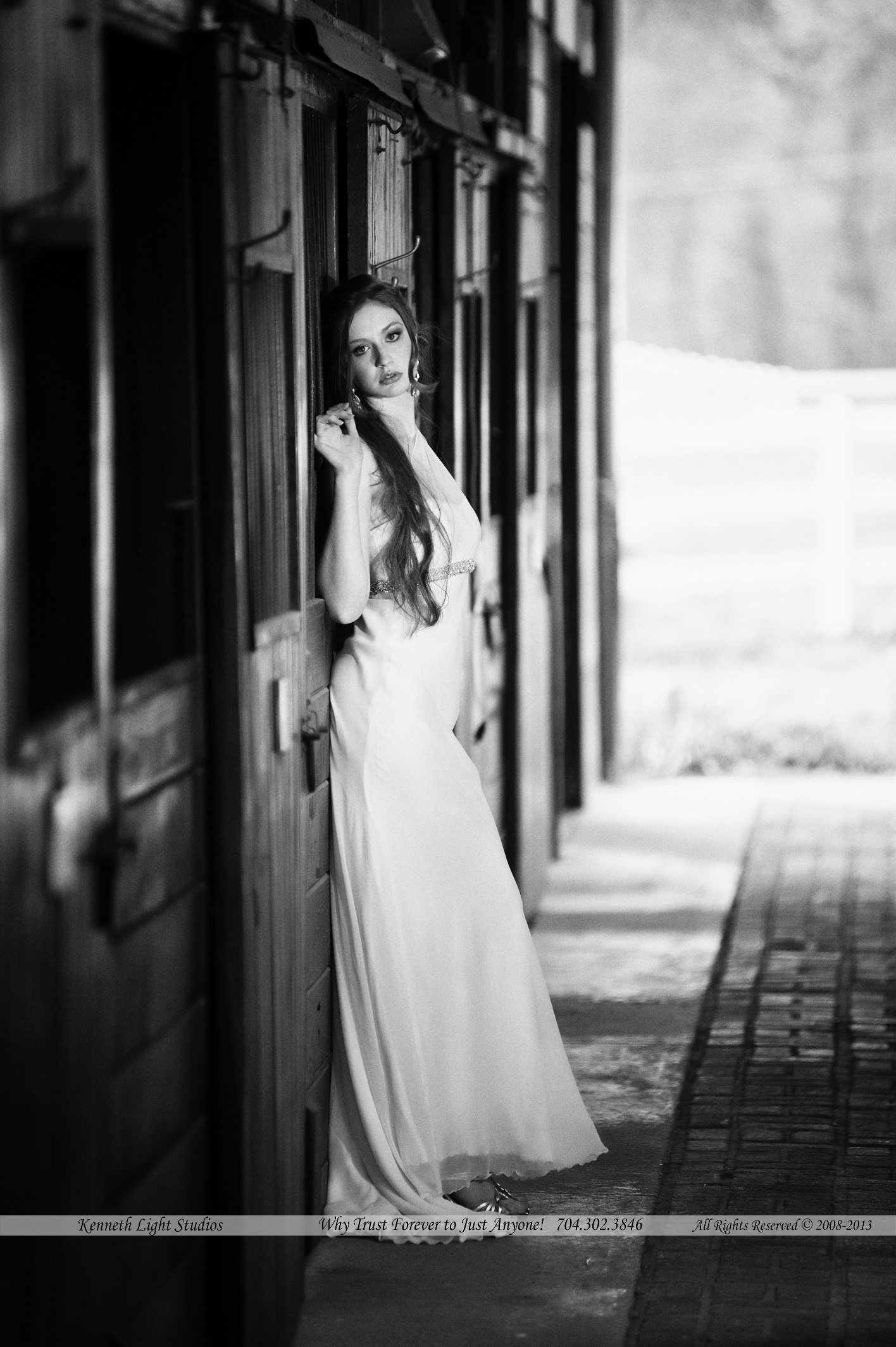 Bridal Dress in Barn, by Kenneth Light studios