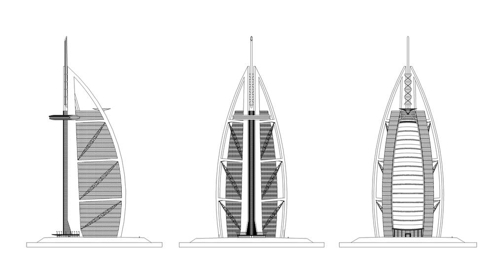pada oktober ia pun mengajukan konsep awal bangunan dengan model kartu sederhana ia meyakinkan sang klien bahwa model dhow perahu layar arab