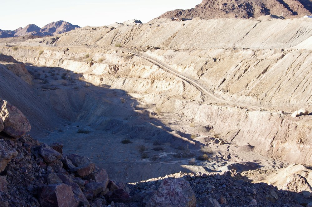 Here is the American Girl mine pit. And there's plenty more of it that you can't see here. All pit mines look pretty much the same…enormous, desolate pits. The American Girl mine is typical in this regard.
