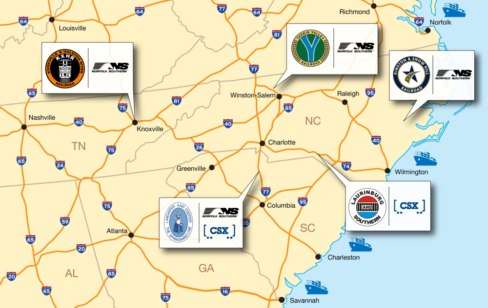 With connections to Class-I railroads, G&O customers have access to the vast North American rail network.