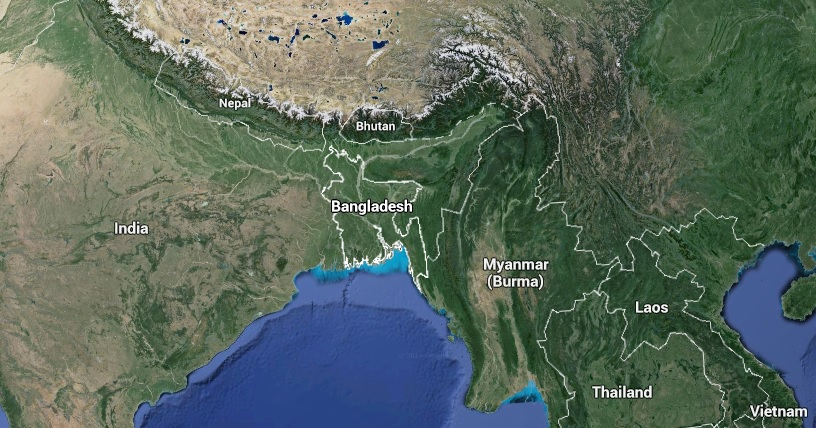 The country is nestled between the Himalayas and the Bay of Bengal, nearly surrounded by India.