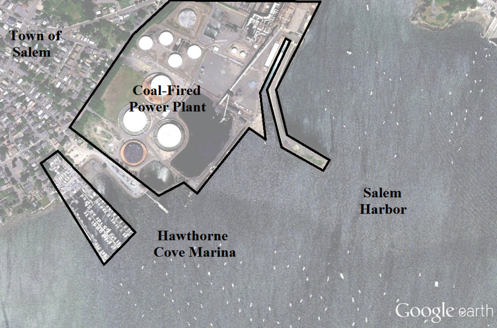 Satellite image of part of Salem Harbor.  The power plant is less than 100 meters away from Hawthorne Cove Marina, the one place  Sagartia   has been found.  Satellite imagery and data courtesy of Google and SPOT IMAGE.