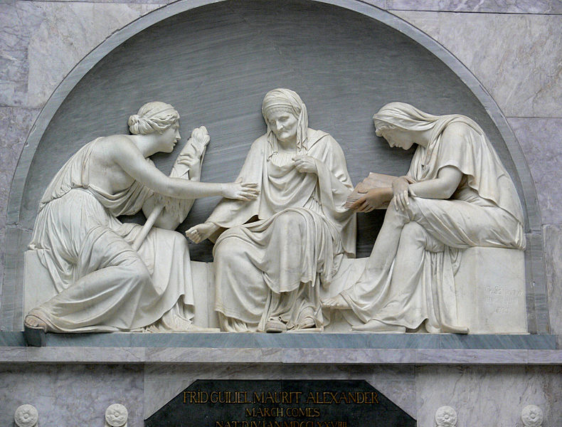 Depicted are the moirai, or fates of greek mythology, at the grave of Alexander von der Mark by Johann Gottfried Schadow.