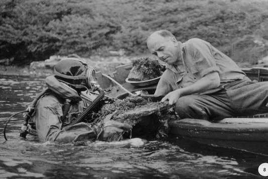 Jack Kitching (left) and Jock Sloane (right) collecting samples from rocks in the rapids.  Photo credit: http://www.ucc.ie/en/bees/research/loughhyne/