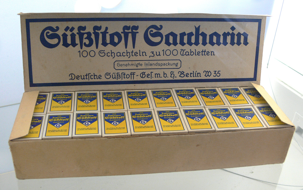 Saccharin, the first artificial sweetener.  Remember to always lick your fingers after working with chemicals. That's how science happens. Image Credit: user FA2010, wikimedia commons.