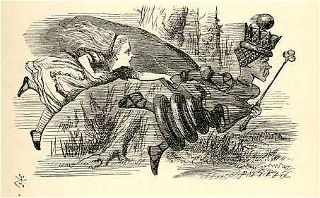 Alice and the Red Queen. Image source: John Tenniel, Wikimedia commons.