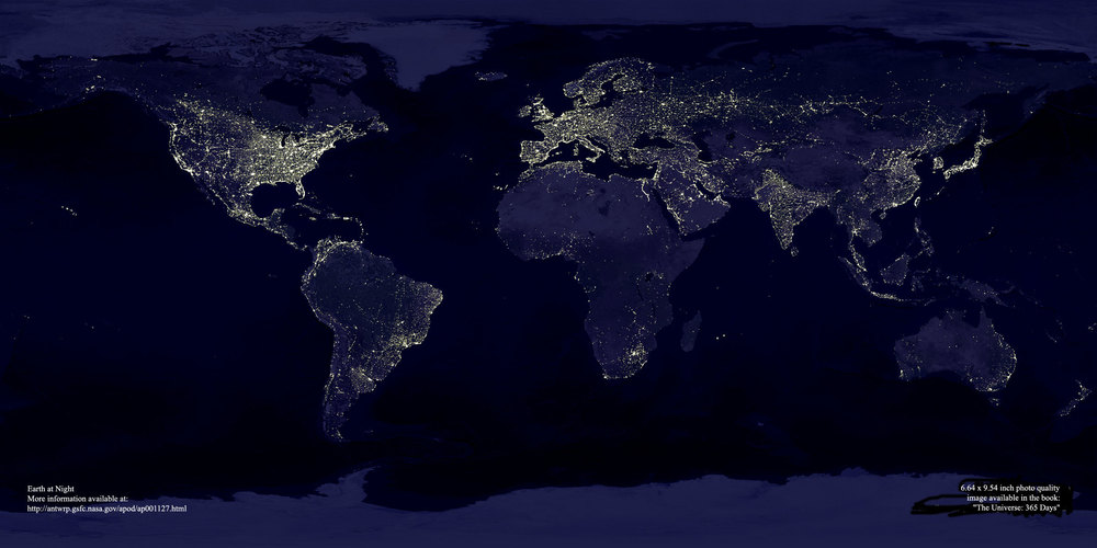 """Earth at Night."" Credit to NASA. For more information,  http://apod.nasa.gov/apod/ap001127.html"
