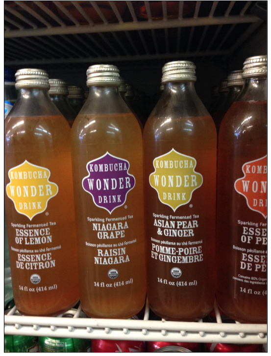 Commercially available kombucha  .  Photo taken by Mattina Alonge.