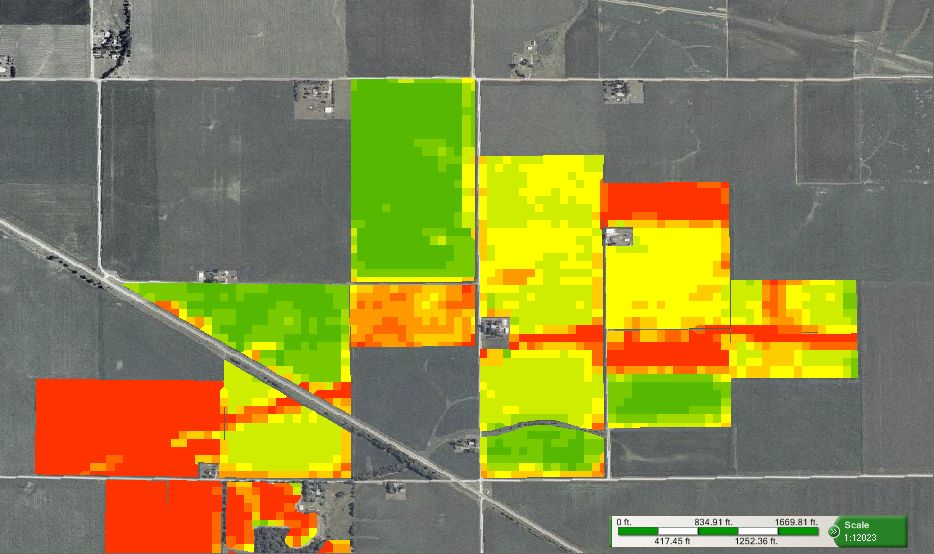 NDVI map showing crop health early in the growing season. Image source:  geoagro.com