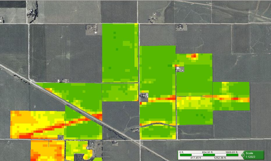 NDVI map showing crop health a month later. Image source:   geoagro.com