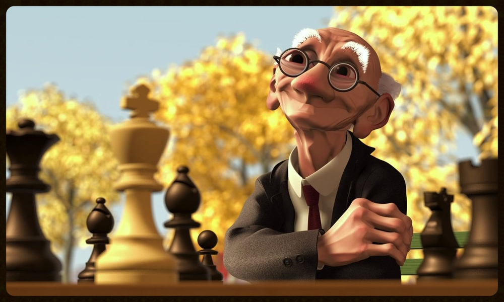 Still frame from Pixar short film Geri's Game (1997).