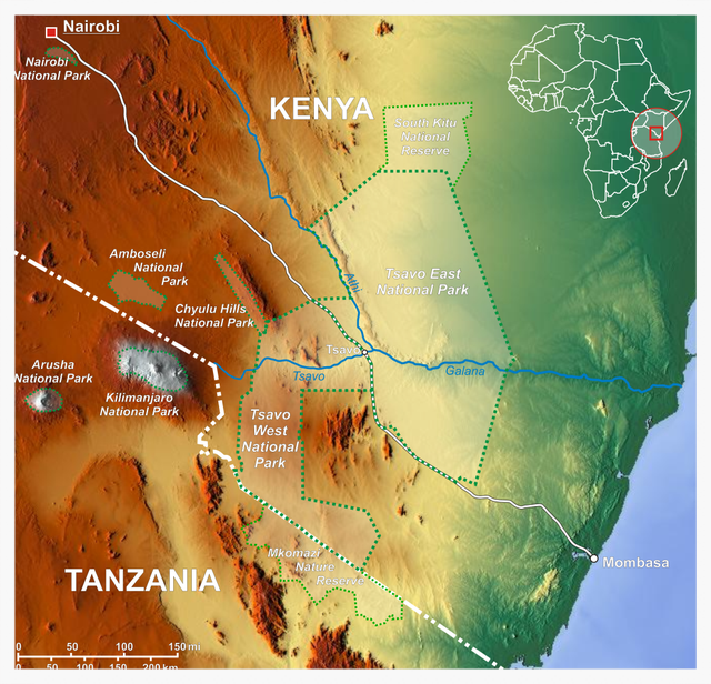 Map showing Tsavo River region in Eastern Africa. (Image from Wikipedia: Tsavo River)