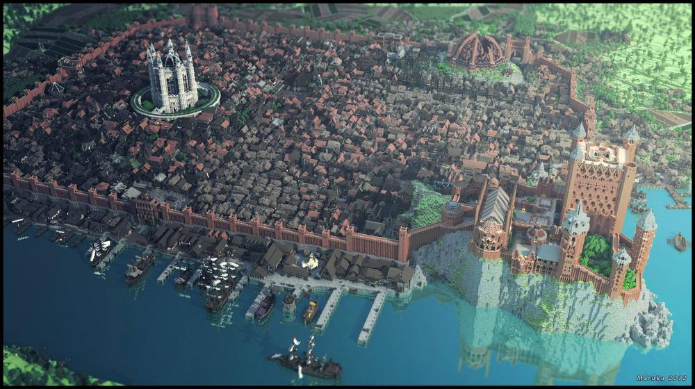 An amazing recreation of King's Landing from the hit show Game of Thrones in Minecraft. It took 100 Minecrafters four months to build this. Each meter by meter block was placed individually. To fully appreciate the work, click the image to stretch it to full screen. For more images of the town click here.