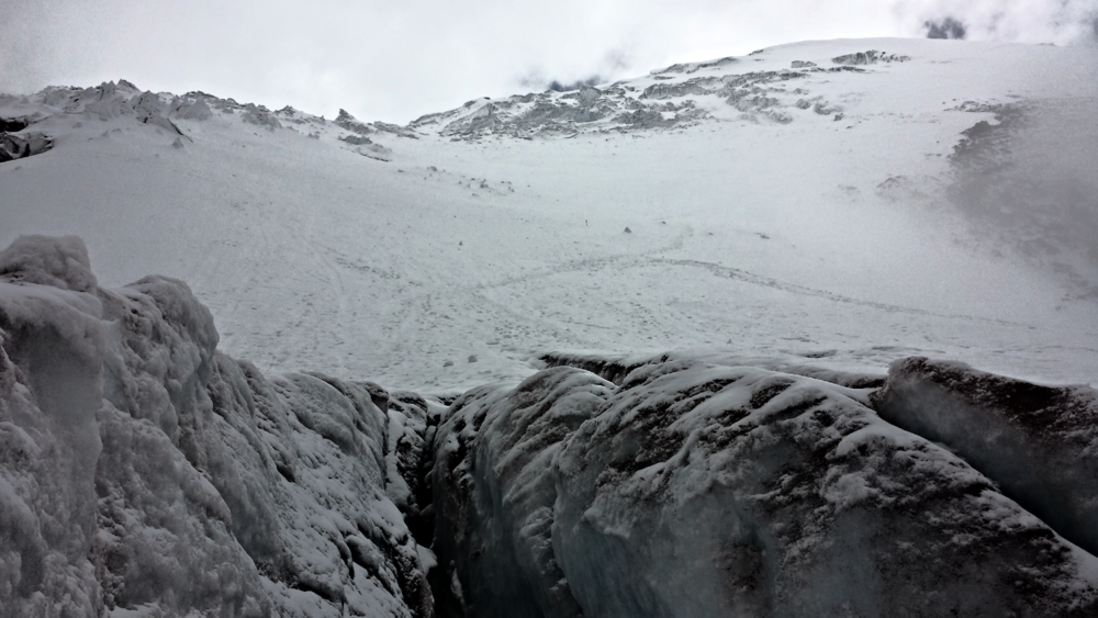 View of the Cotopaxi glacier during climb. (Photo taken by Juan Diaz.)