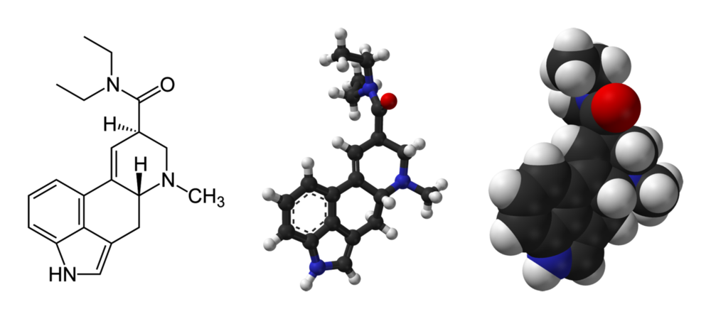 The chemical and 3-D structure of LSD (Wikimedia Commons)