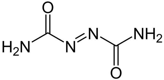 The structural formula of azodicarbonamide.  Source.