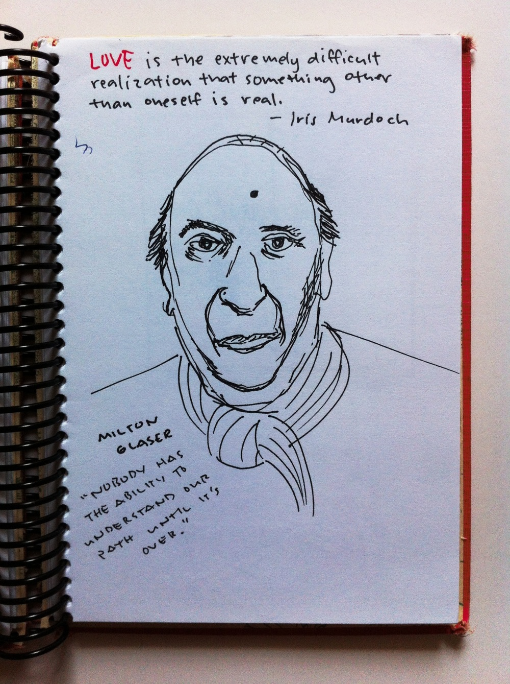 a poorly rendered sketch of milton glaser, graphic designer extraordinaire