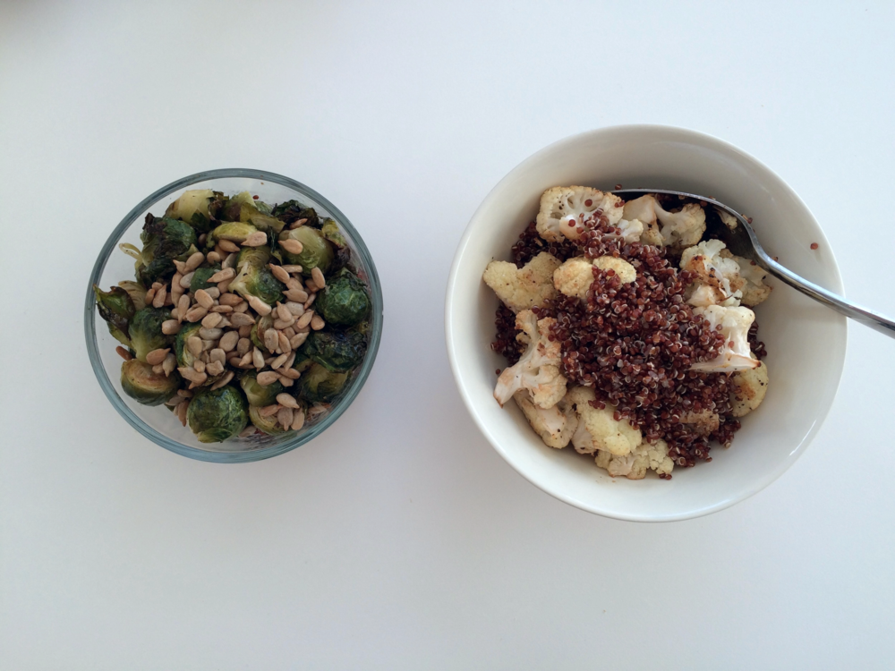 roasted brussel sprouts with quinoa and sunflower seeds on the left, roasted cauliflower with quinoa and capers on the right. both are seasoned with salt, pepper, lemon.