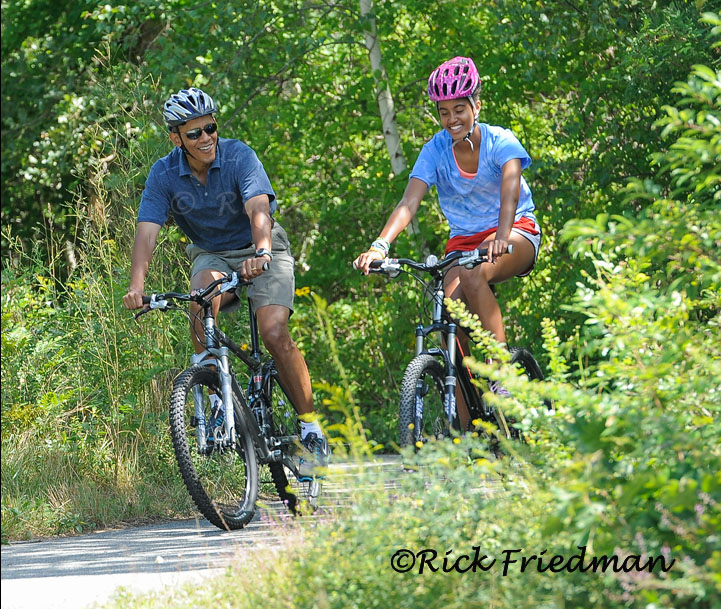 President Obama and daughter Malia bike riding on Martha's Vineyard