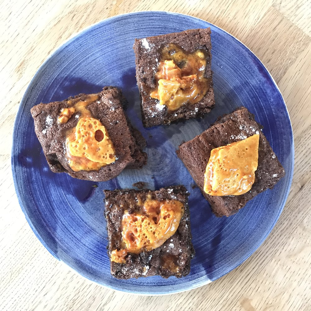 Stripe Plate with Chocolate Honeycomb Brownies!!!