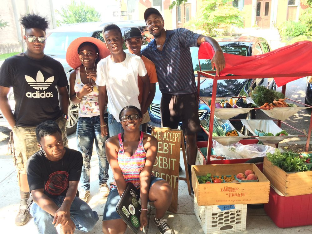 The YouthWorks crew with the weekly Mobile Market