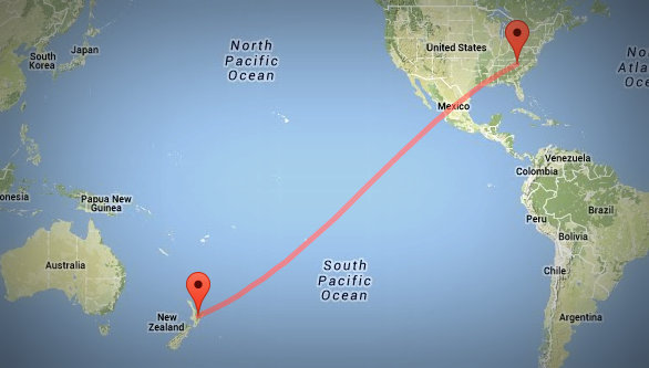 The RNZI signal travels a full 8,249 miles (13,276 kilometers) to reach my radio.