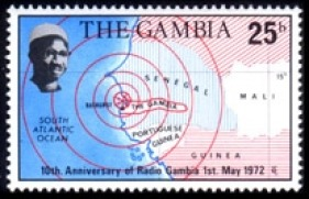 10th anniversary of Radio Gambia postage stamp (Source: Radio  Filatelia )