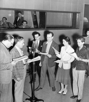 The company rehearses Treasure Island, the second program in The Mercury Theatre on the Air series, presented July 18, 1938 (Source: Wikipedia)