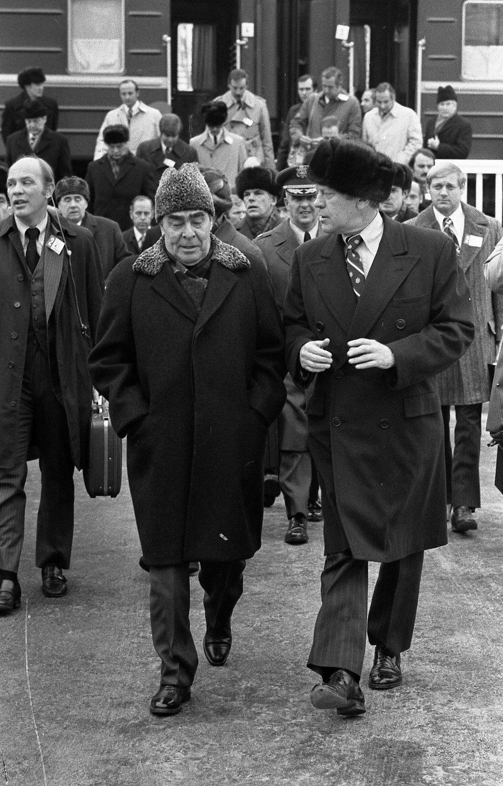Brezhnev greets Gerald Ford upon his arrival at Vozdvizhenka for the Vladivostok Summit on 23 November 1974.