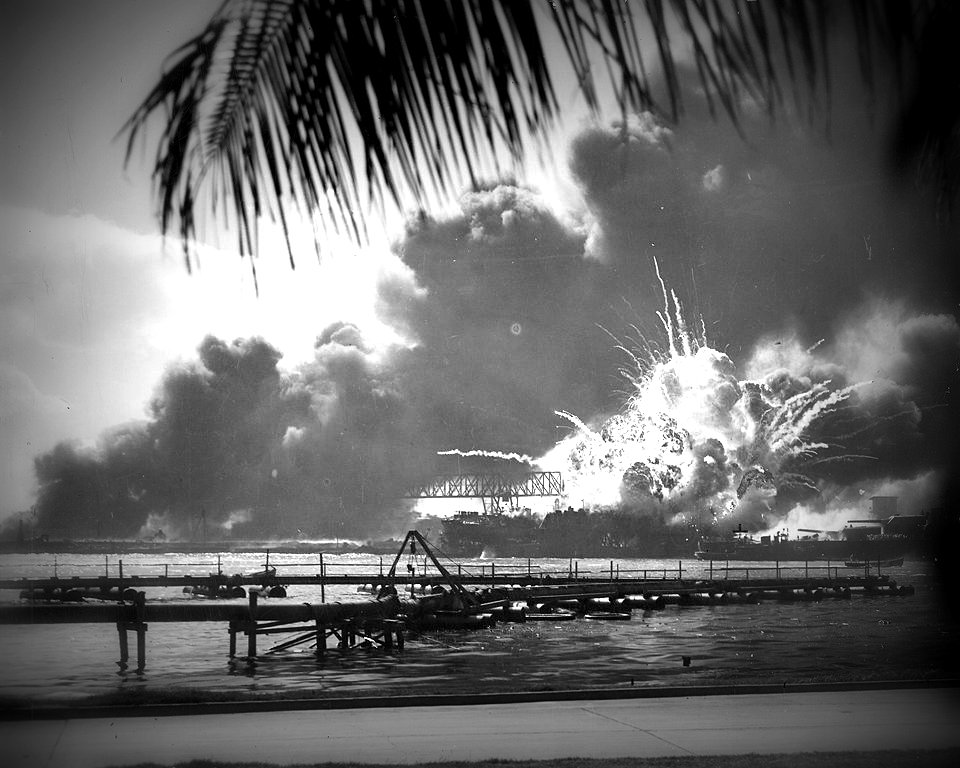 USS SHAW exploding in Pearl Harbor, Hawaii on December 7, 1941