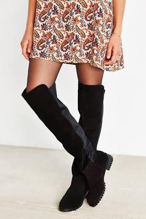 (Black Knee High Riding Boots Stretch Slouch Suede Round Toe from eBay- $39.77)
