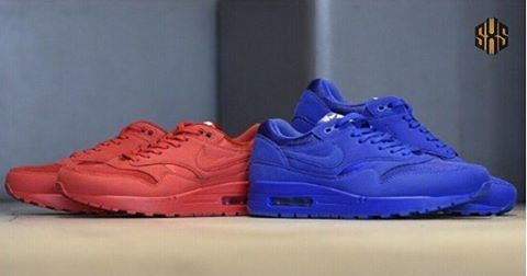 Tonal Nike Air Max 1s On The Way!  Over the last two weekends, Nike has re-released both of the Air Max 1 OG colorways in Sport Red and Sport Royal. Now they're preparing to release more pairs of those colorways but with a tonal look. Dropping this Friday, March 17, these new Nike Air Max 1's come in tonal red and blue execution with the only contrast being a white tongue label. Which pair are you feeling more, red or blue? Let us know below. #SneakersXSpeakers