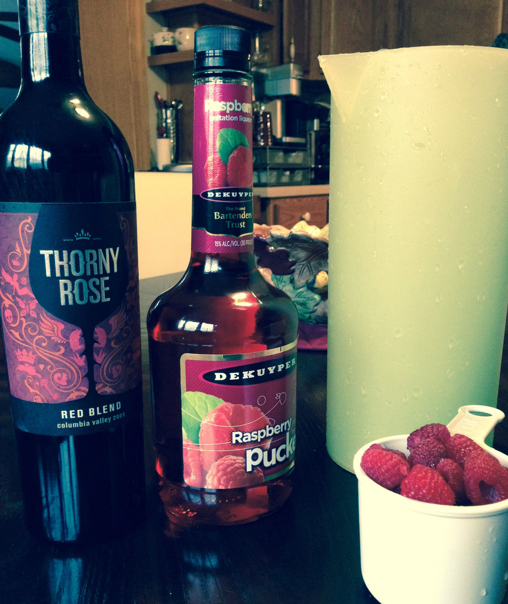 Making Mango-Raspberry Sangria