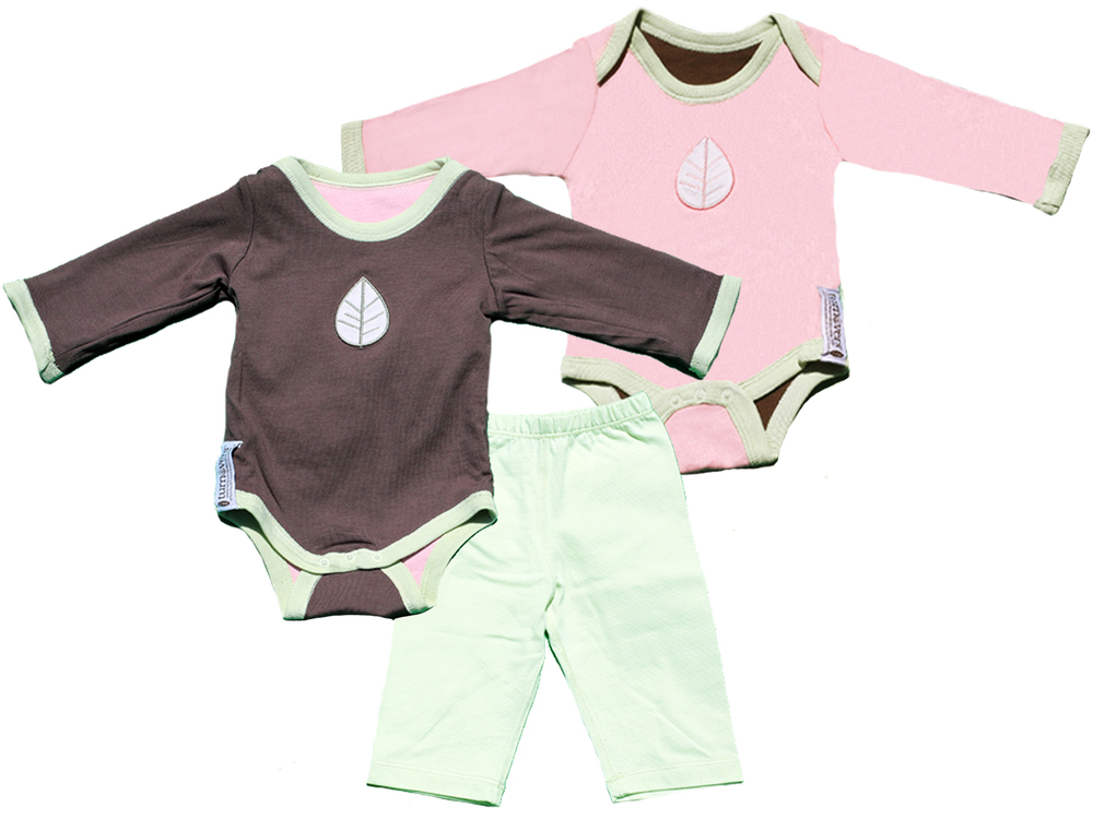 TURNOVERS 2-PIECE SET.    Leaf APPLIQUE.  Gender Neutral  REVERSIBLE BODYSUIT & MATCHING PANTS. COLOR:   Pinecone/Petal/Mint