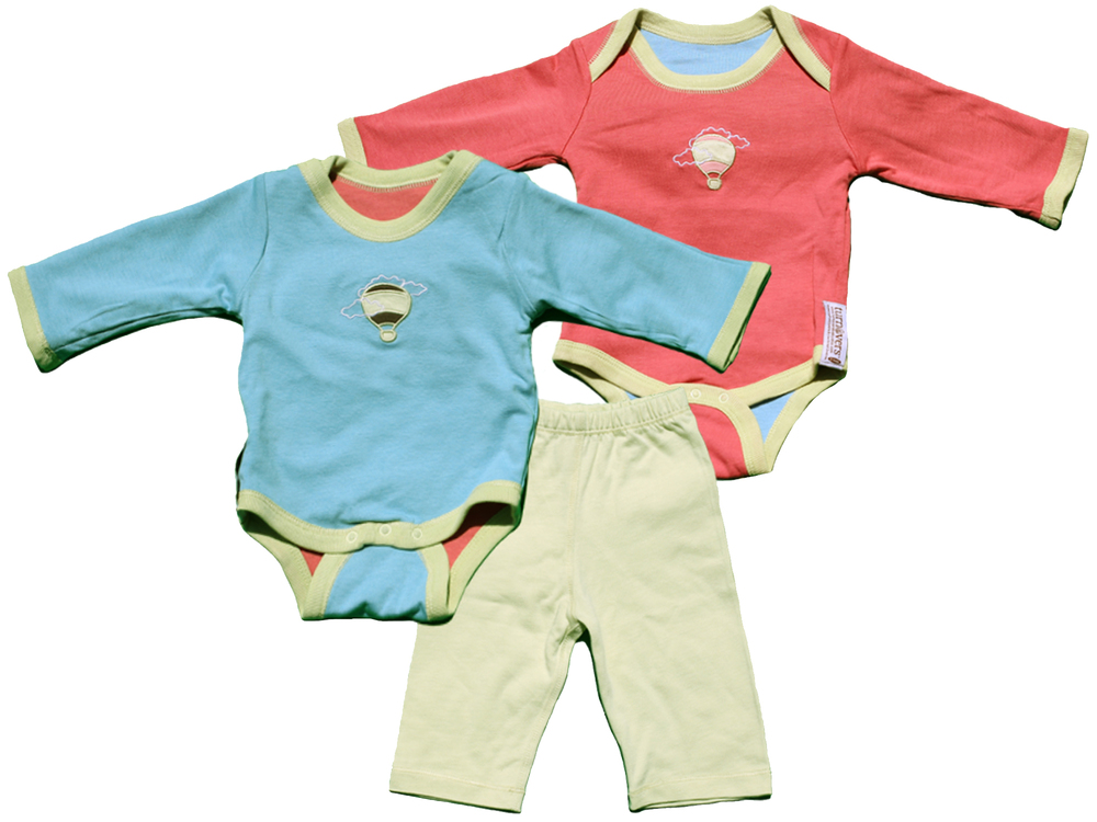TURNOVERS 2-PIECE SET. Balloon    APPLIQUE.   GENDER NEUTRAL   REVERSIBLE BODYSUIT & MATCHING PANTS. COLOR:   Rosebud/Raindrop/MINT