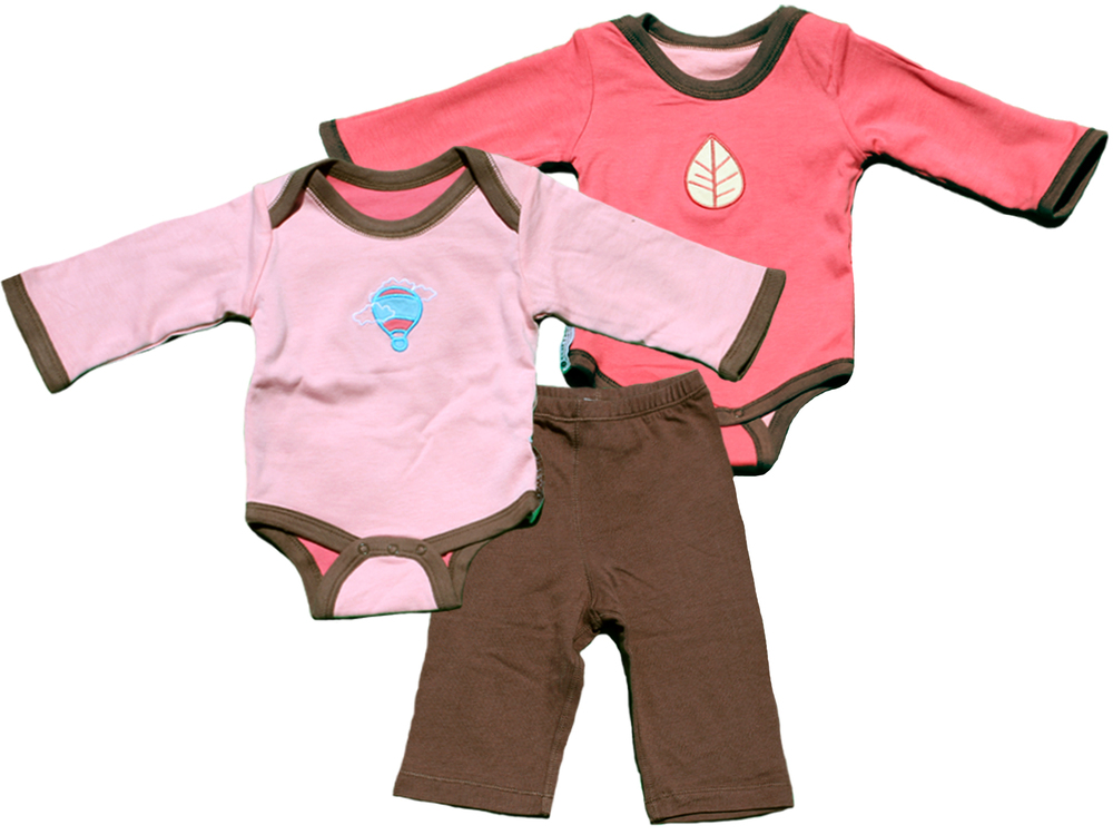 TURNOVERS 2-PIECE SET. Balloon/Leaf APPLIQUE. Girls REVERSIBLE BODYSUIT  & MATCHING PANTS. COLOR: Petal/ROSEBUD/Pinecone