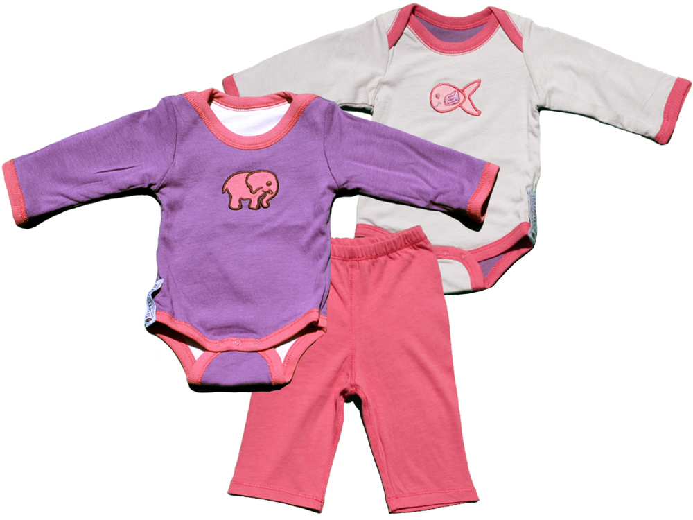 TURNOVERS 2-PIECE SET. Elephant/Fish APPLIQUE. GirlS REVERSIBLE BODYSUIT  & MATCHING PANTS. COLOR: Grape/Cloud/Rosebud