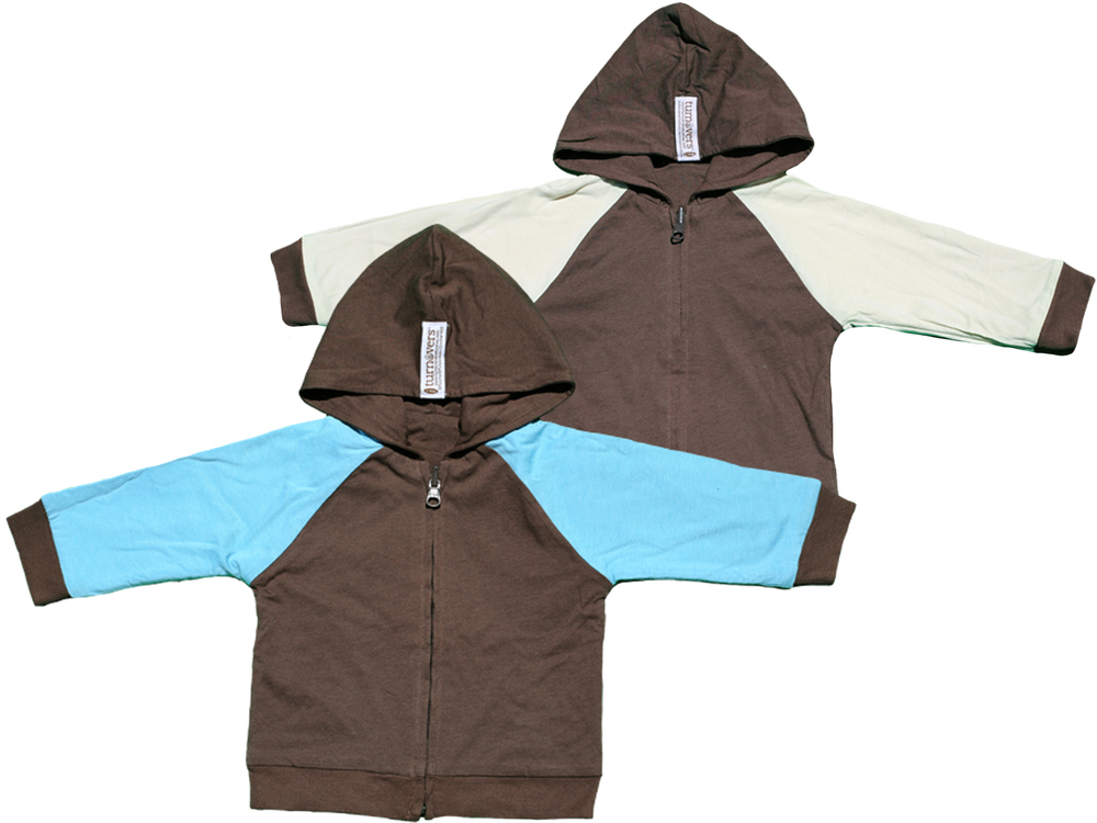 TURNOVERS REVERSIBLE BOYS Zip HOODIE.    COLOR: pinecone with raindrop/mint SLEEVES