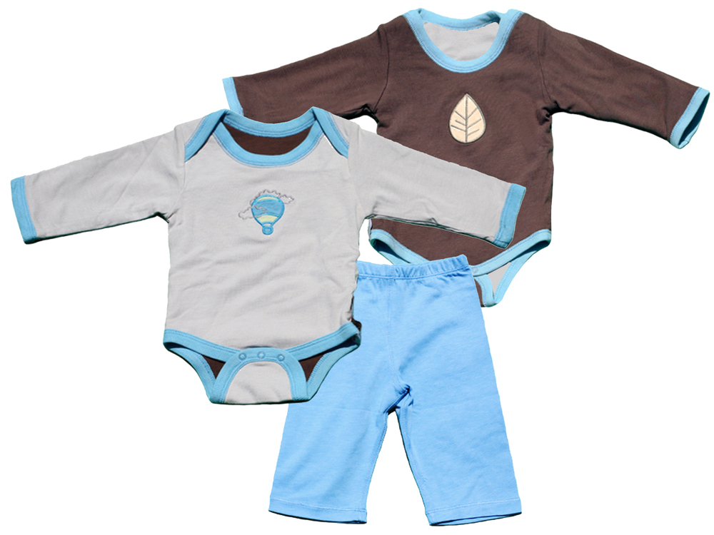 TURNOVERS 2-piece Set.    BALLOON/LEAF APPLIQUE.  Boys  REVERSIBLE Bodysuit  & matching PANTS. ColoR:   cloud/pinecone/RAINDROP