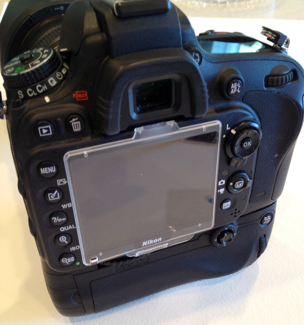 My D600 with the protector screen that covers the monitor out of box.  I took this off almost immediately