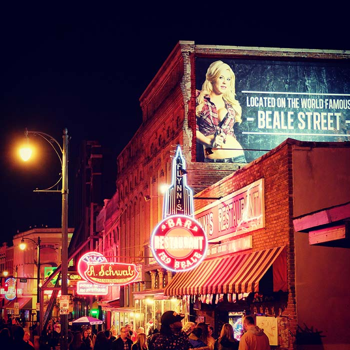 Beale Street in Memphis at night