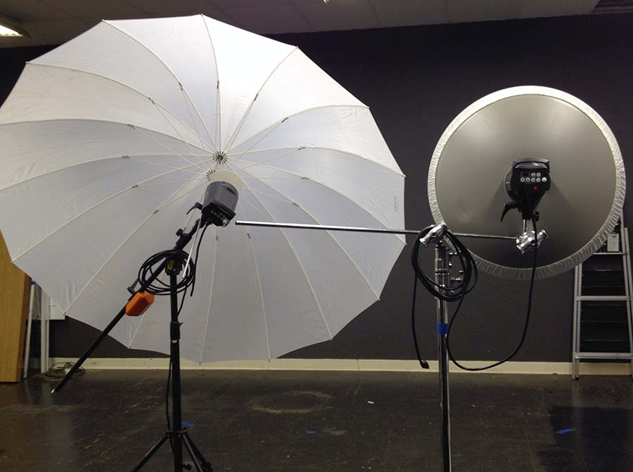 "72"" Promaster umbrella & 27"" Elinchrom beauty dish with a diffuser sock"