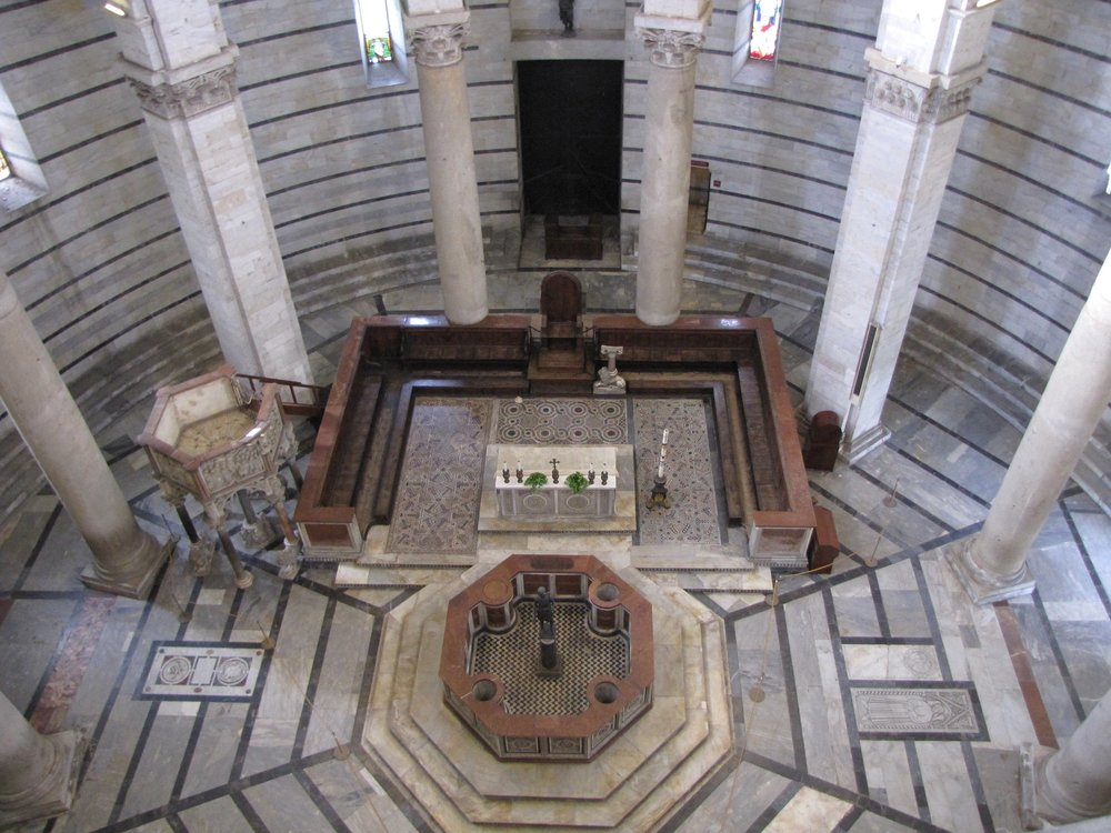 Inside the baptistry, looking down from the gallery.