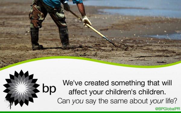 Some tweets from @BPGlobalPR, in billboard format. (BPGlobalPR Billboards)