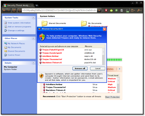 Look what I found. Screenshot of Google Chrome in Ubuntu linux. And they're still failing at spell-check and English, which is quite amazing.   Spyware is software, which can gather information from user's computer throught internet connection and send them to its creater. Gather information can be passwords, e-mail adresses and all that data, which is important for you.    Spyware/virus popup fail.