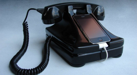 Beautiful retro handset base for the iPhone The price is steep at $195. But this will bring back some good memories.