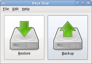 Just came across Déjà Dup while I was browsing through screenshots of Fedora 13 beta. It's a simple backup tool for Gnome. It hides the complexity of doing backups the Right Way (encrypted, off-site, and regular) and uses duplicity as the backend. What caught my attention was the dead-simple UI. Can it get any simpler than this? [DejaDup/Screenshots]