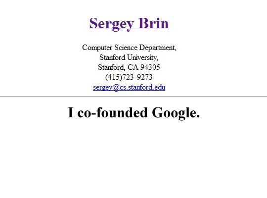 Sergey Brin's Online Resume