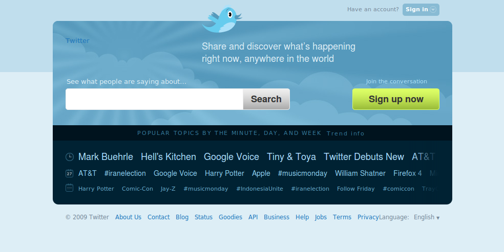 The new Twitter homepage looks sweet! Update: Ok, nothing seems to have changed once you login. But now that big search bar on the front page really positions Twitter as a real-time search engine more than anything else.